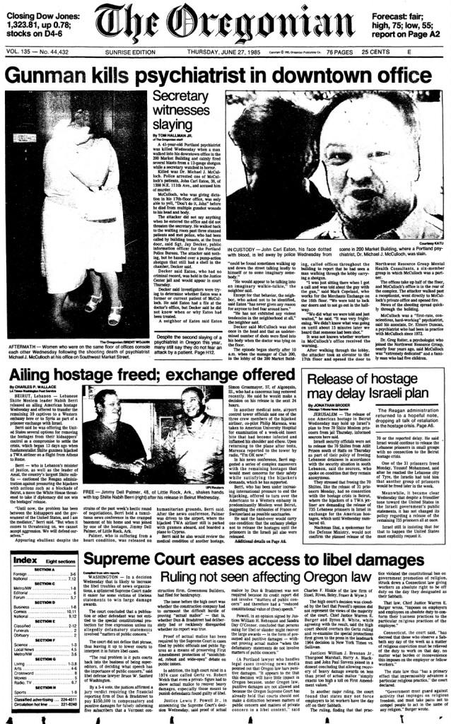 Oregonian June 27 1985