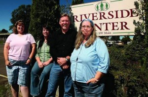 Outpatient therapy team Heidi Luckman, from left, Sarah Becker, Dan Strasser and Kathryn Gailey work to serve children at the Riverside Center in Winston.