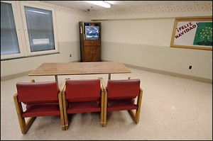 After fifteen years living in seclusion in the Western State Hospital in Staunton, Virginia, a patient now lives alone in a three room suite that the hospital recently fixed up on a ward, seen Monday Dec. 15, 2008 . Photo shows his living room with television.