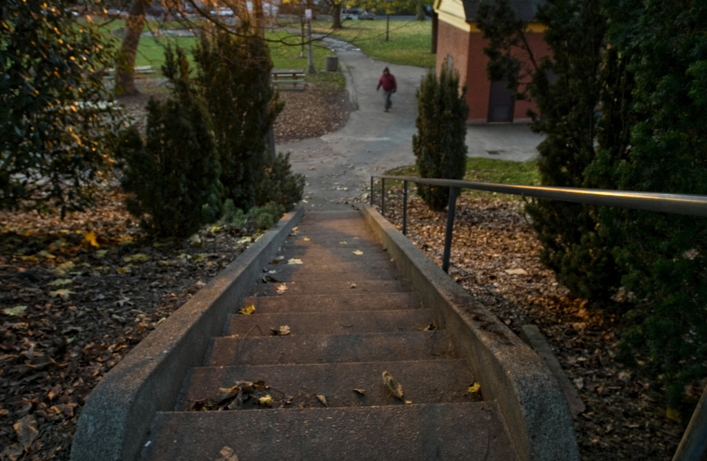 Portland detectives say a transient woman in her 50s was pushed down this staircase leading to Colonel Summers Park, off Southeast 18th Avenue, in mid-November after she stood up to two men. James and Michael Johnson have been arrested on assault charges related to attacking homeless people at the park.