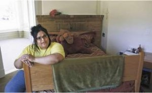 Amber Jackson talks July 16 about the things she has learned while a patient at Oregon State Hospital. She currently lives in one of the cottages and is scheduled to be released July 28.