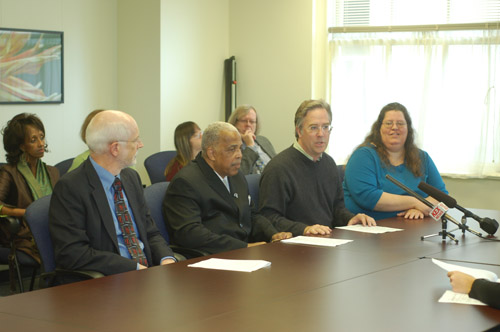 LEFT TO RIGHT: Bob Joondeph, Executive Director of Disability Rights Oregon; Reverend Doctor LeRoy Haynes, vice president of the Albina Ministerial Alliance; Jason Renaud, Board Secretary of the Mental Health Association of Portland, and Beckie Child, Board President of Mental Health America of Oregon