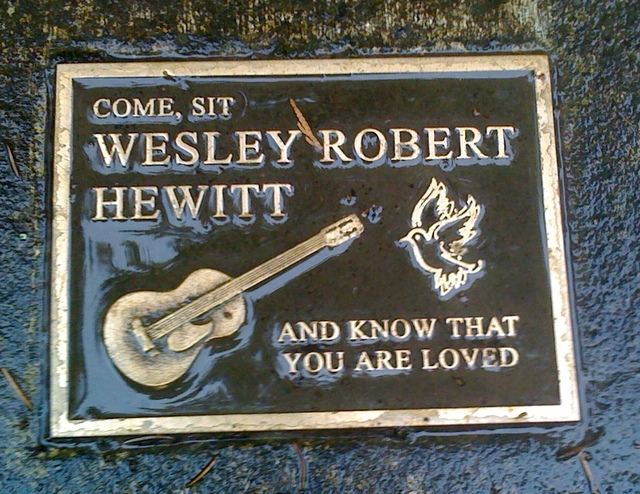 A plaque in Washington Park remembers Wesley Hewitt.