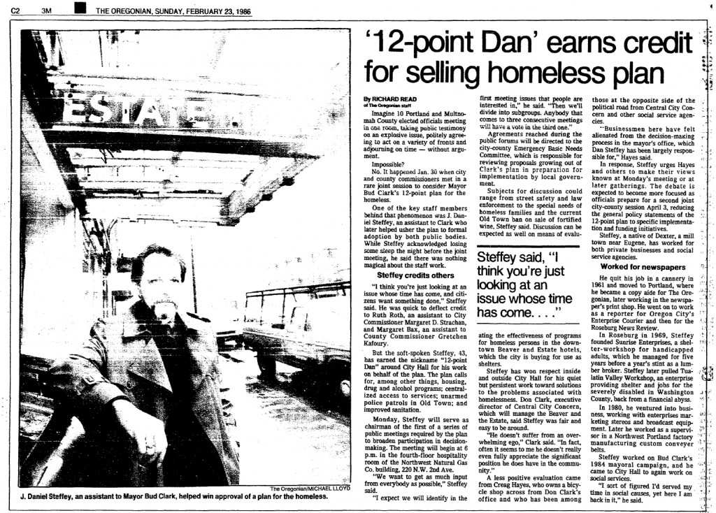 '12-point Dan' earns credit for selling homeless plan