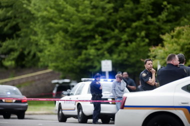 Police Chief Mike Reese, pictured at the scene of the police shooting of William Kyle Monroe.
