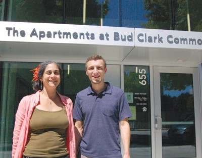 Home Forward housing managers Rachael Duke and Matthew Fullen stand outside the entrance to the Bud Clark Commons, a new 130-unit housing complex and resource center across the street from Union Station, downtown, serving low-income and homeless residents.