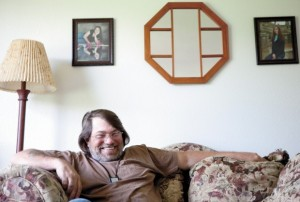 Tom Hunter, a veteran of 17 years in the Army, National Guard and Reserves, feels at peace in his new apartment after living in a pup tent in the forest for eight months.