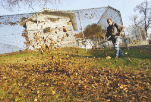 James Barrett uses a leaf blower recently at the Pendleton Cottage. Barrett is a resident at Pendleton Cottage and holding a job is an important step in his recovery and reintegration into society.