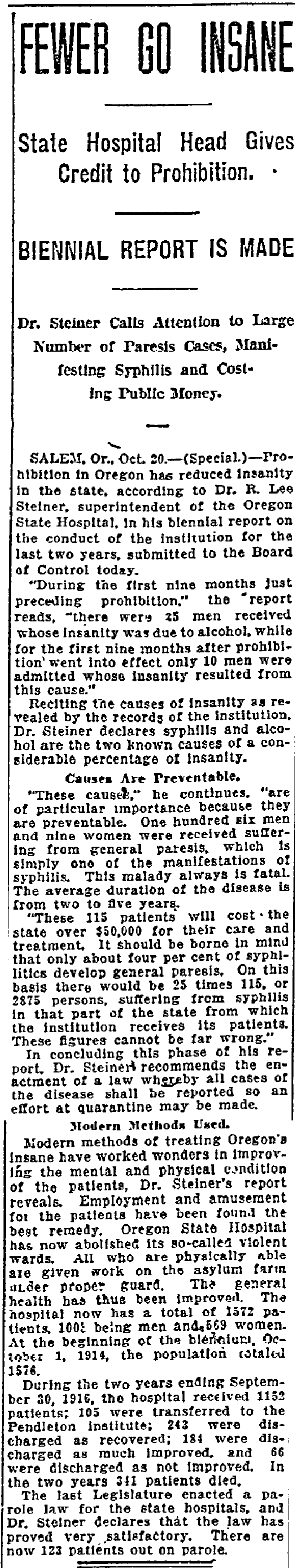 Fewer Go Insane State Hospital Head Gives Credit to Prohibition - October 21, 1916
