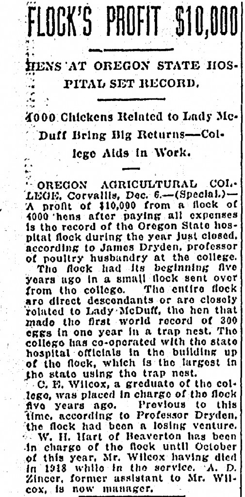 Flock's Profit $10,000 Hens At Oregon State Hospital Set Record - December 07, 1919
