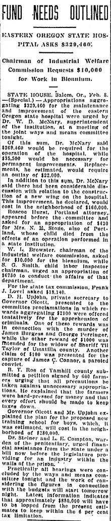 Fund Needs Outlined Eastern Oregon State Hospital Asks $329,460 - February 09, 1921