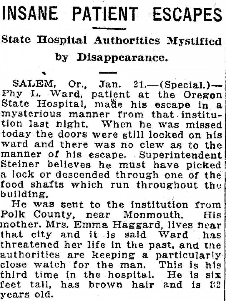 Insane Patient Escapes State Hospital Authorities Mystified by Disappearance - January 22, 1917