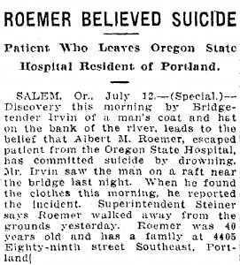 Roemer believed suicide - July 13, 1918