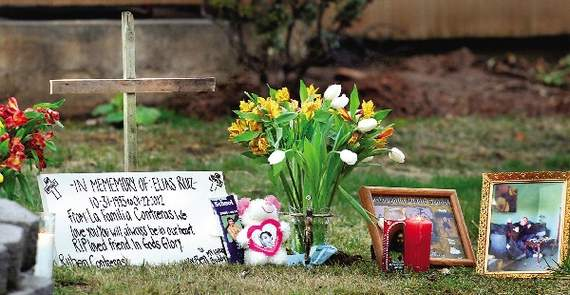 A memorial in front of Ellias Ruiz's west Medford home appeared soon after the shooting. (File Photo)