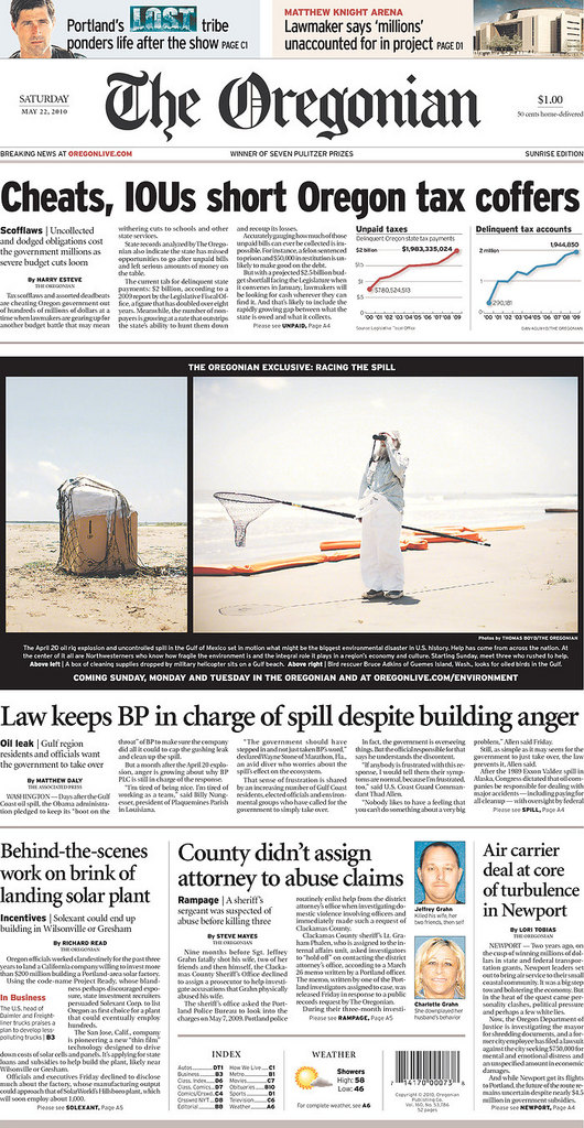 Front page of The Oregonian, May 22, 2010