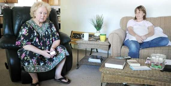 Carol Kidder, left, and Cindy Chappell talk about the death of Scott Chappell Thursday in their Eagle Point home.
