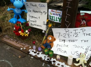 This impromptu memorial developed in North Portland near the spot where Billy Wayne Simms, 28, was fatally shot by police on Saturday.