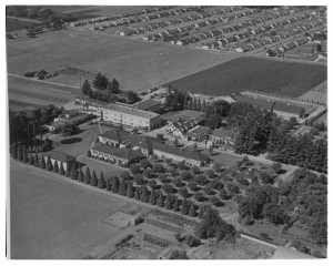 An aerial photo of Morningside Hospital and its grounds, shot in 1948.