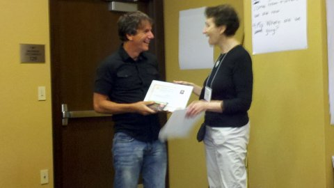 2011 Judi Chamberlin Joy in Advocacy Award Winner Susan Rogers Presents Will with His Award.