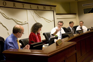 Portland City Council members (L-R) Randy Leonard, Amanda Fritz, Mayor Sam Adams, Dan Saltzman, Nick Fish.
