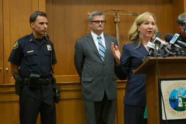(L-R) Portland Police Chief Mike Reese, Mayor Sam Adams, U.S. Attorney Amanda Marshall