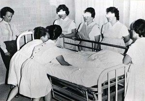 Female inmates receive nurse's aid training at the Oregon State Hospital in the mid-1960s. (Board of Control Records, Photographs, box 4, separated from State Institution Research Reports, box 76, folder 23)