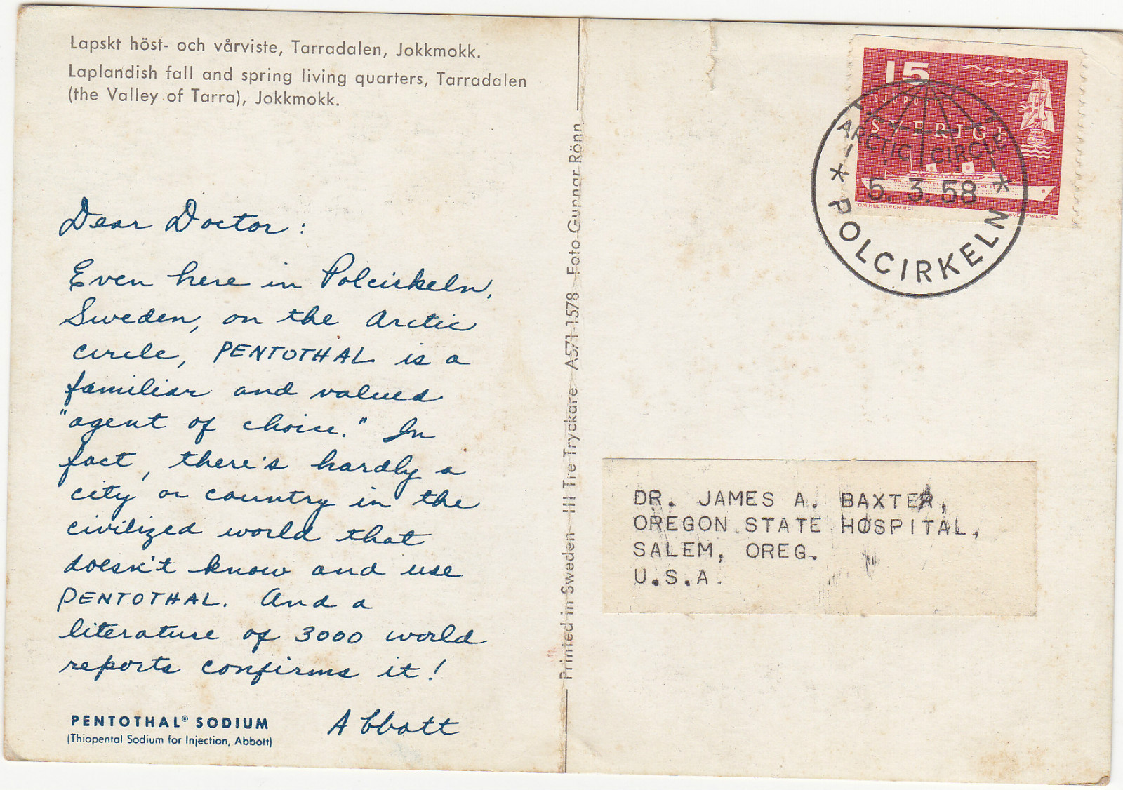 Pentothal Postcard OSH BACK