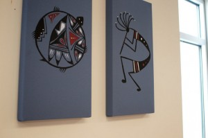 Artwork on the wall was done by a former patient.
