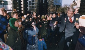 On Jan. 9, 1992, Portland Mayor Bud Clark cuts off talks with homeless protesters outside City Hall.