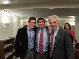 Gallagher Smith (left) with Portland attorneys Jason Kafoury (middle) and Greg Kafoury