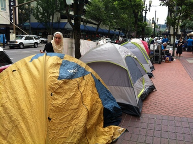 Tents lined 4th Avenue in recent weeks.