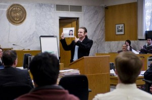John Fucciolo speaks in front of a crowded courtroom during a 2009 graduation at a STOP court, a specialized program allowing people caught possessing drugs or forging prescriptions to avoid a felony conviction by undergoing treatment, getting work or an education and undergoing random UAs. County programs aimed at treating people who have been arrested could save Oregon significant money according to a recent audit.