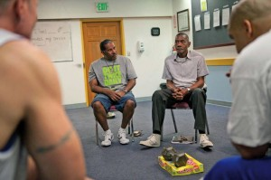 Larry Jones (left) and Karl Colbert have been living at the VOA residential facility in NE Portland for over four months.