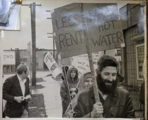 This photo was found at Lee Perlman's home after his death. It shows Perlman (at right) during the 1970s, when he was active in the group Portland Tenants Union