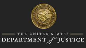 US Dept of Justice seal - gold on black background