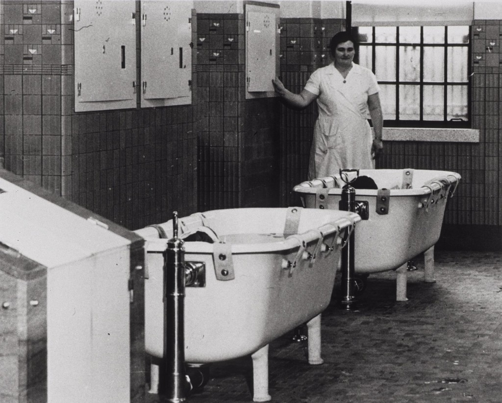 Patient undergoing hydrotherapy treatment