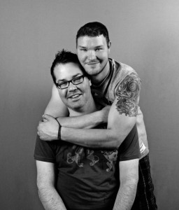 Joshua Paul, front, pictured here with his fiance, Jeff Bolek