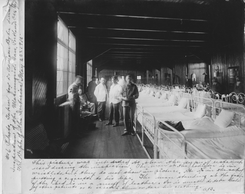 Patients' arms are restrained during a visit of inspectors to Morningside Hospital. From 1904 to the 1960s, Alaskans who needed mental health services were sent to Morningside Hospital in Portland, Oregon.