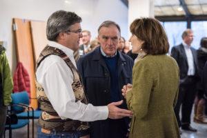 Brot Bishop, Greg Goodwin and Maureen Bradley, Senior Vice President for Philanthropy Legacy Health. Wall-Breaking event, Nov. 19, 2015